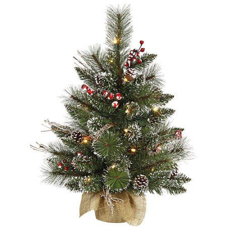 pre lit 2 x 16 snow tip pineberry tree artificial christmas tree frosted clear lights walmartcom - Walmart Small Christmas Tree