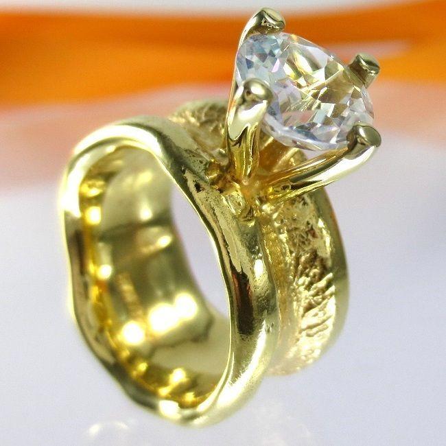 Schmuck gold  A709 Solitär Topas Verlobungsring 925 Silber Schmuck Gold verg. Gr ...