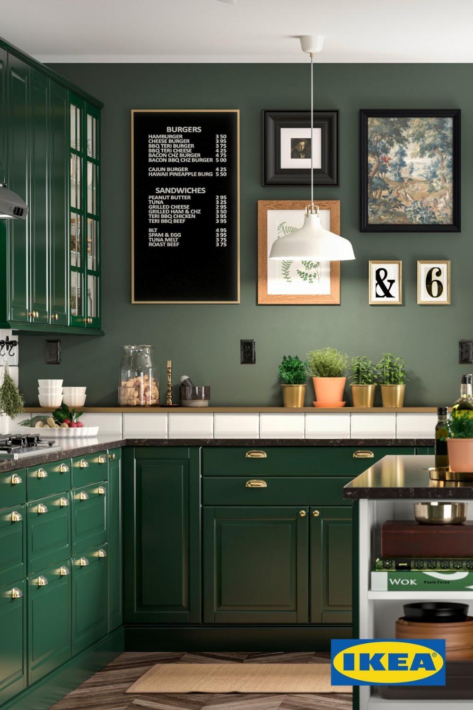 dark green kitchen ikea - Google Search in 2020   Green ...