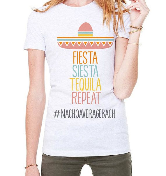 fa2833465 Fiesta Siesta Tequila Repeat Tee Shirt - Bridal Shower or Bachelorette  Party Tees