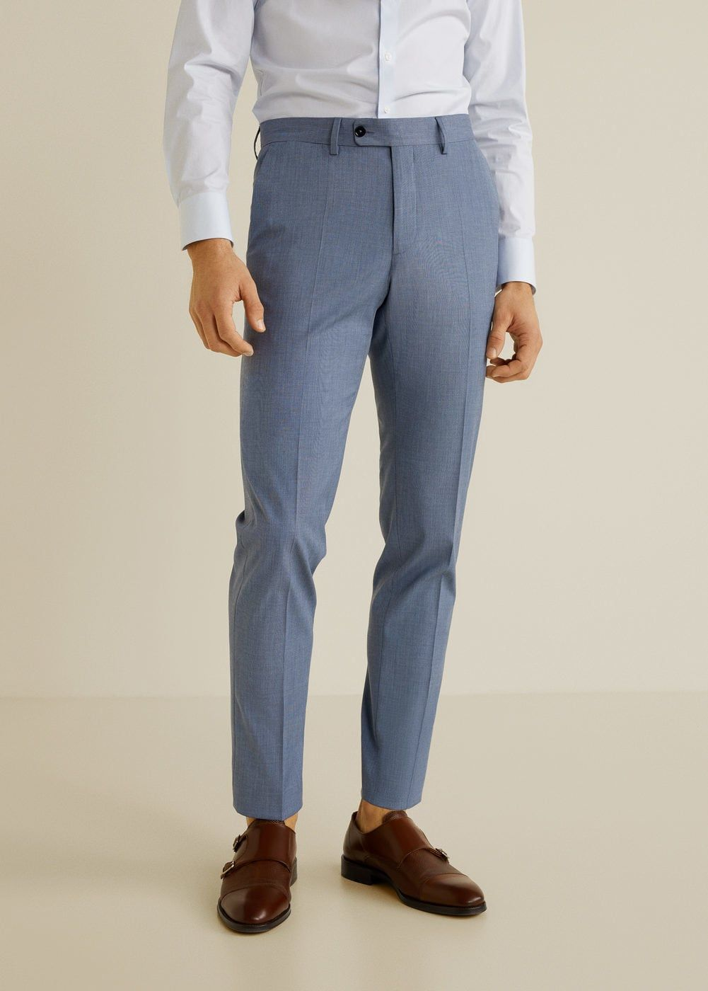 c85b8d465d461 Dar kesim filafil takım pantolonu - Erkek   Şaps   Pantolon, Mango ...