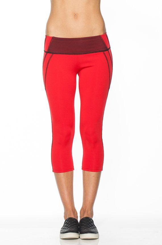 Crimson Red Yoga Capri - Dryflex - Cycling Clothing - Drifit ...
