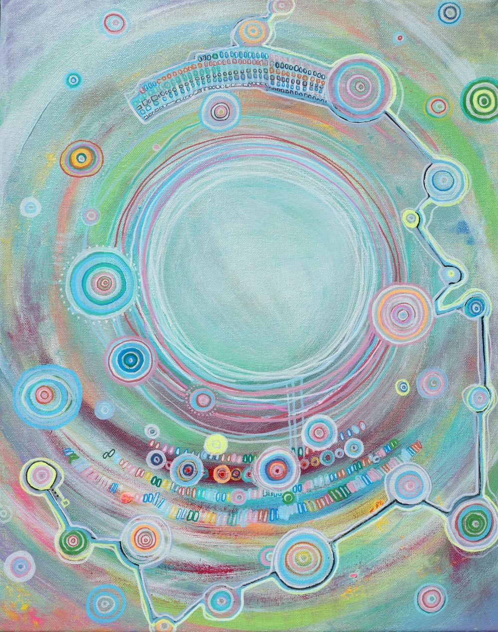 """Sharon Ryder """"AM & FM - emotions are frequencies, we are like radios."""" acrylic on canvas,  2014 - Sharon Ryder is a 20 year old self-taught painter based in Joshua Tree, CA. She was born in Viña del Mar, Chile and experienced many hardships that led her to express herself through art. Her works are a type of self-psychoanalysis, where she discovers truths about herself as well as aspects of the human psyche in general and divine consciousness / http://www.sharonryder.com"""