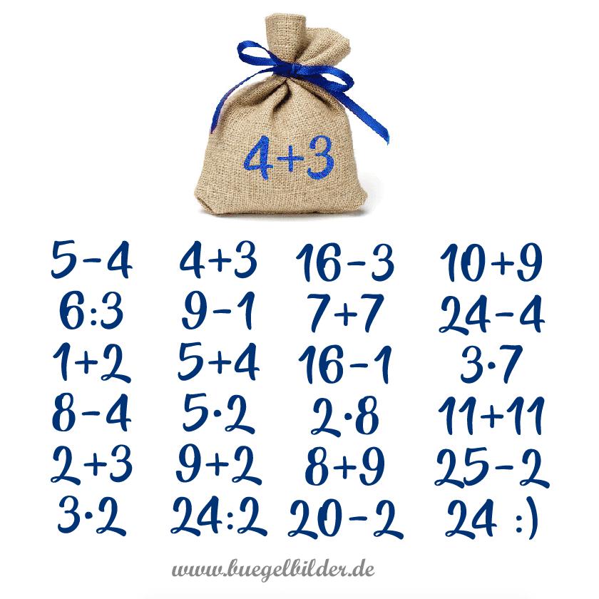 Adventskalender-Zahlen 1 24