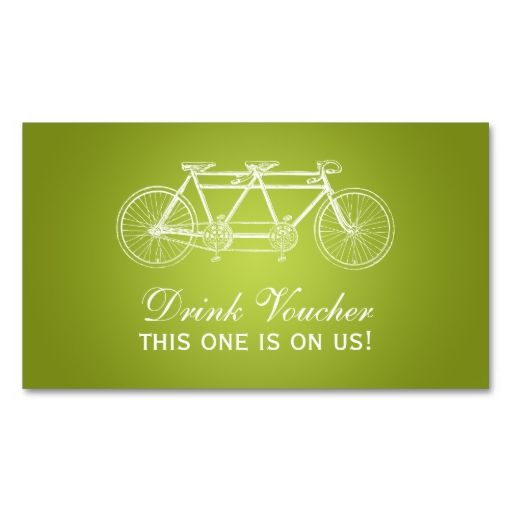 Simple Drink Voucher Tandem Bike Lime Green Business Card Green - make your own voucher
