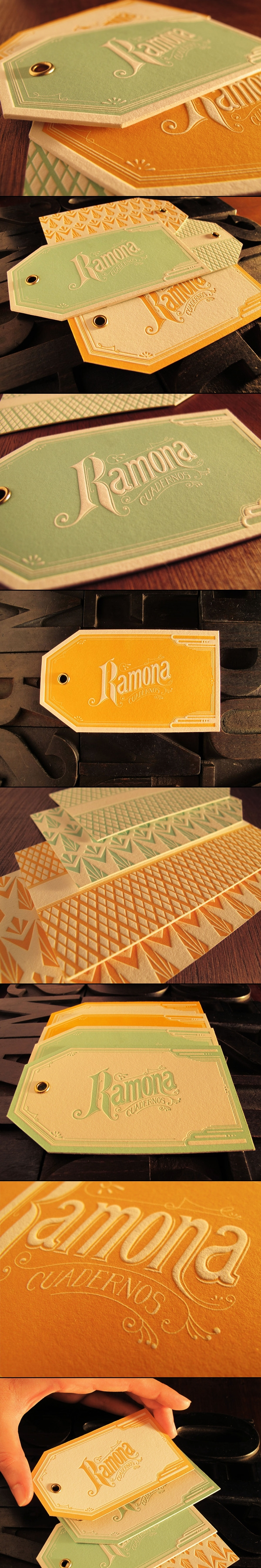 ramona hang tags designed and printed by rocio cogno during a