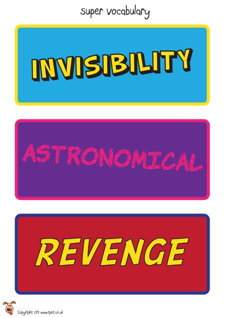 Superhero Vocab Labels - A fantastic, colourful set of vocabulary cards for the topic of superheroes. Each label comes in a comic book style theme. There are 30 labels in total, with 3 to every A4 portrait page.