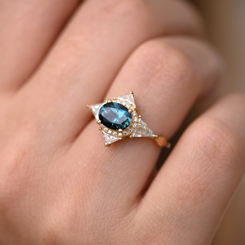 Teal Sapphire Deco Ring with Triangle Diamonds Womens