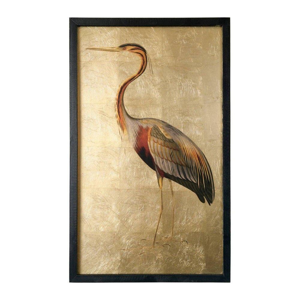 31 5 Foil Heron Framed Wall Canvas Art Gold Creative Co Op Framed Wall Canvas Gold Foil Wall Art Foil Wall Art