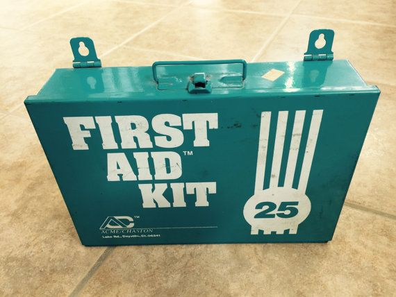 Vintage Blue Retro Turquoise First Aid Kit - Metal Container or Box - Wall Mount or Medicine Cabinet Acme / Chaston.