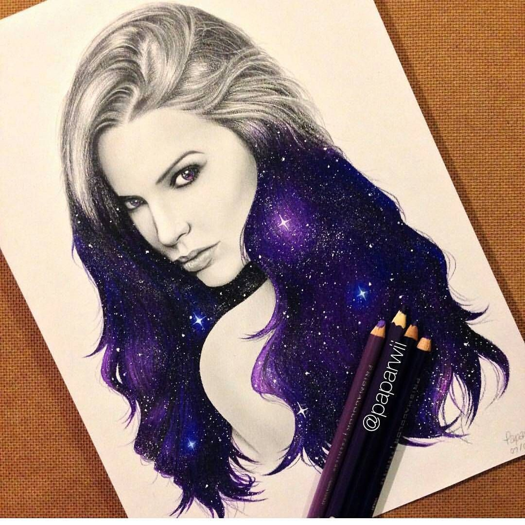 Constellation night sky stars in portrait of girl woman colored pencil realistic sketch galaxy girl by paparwii arts help