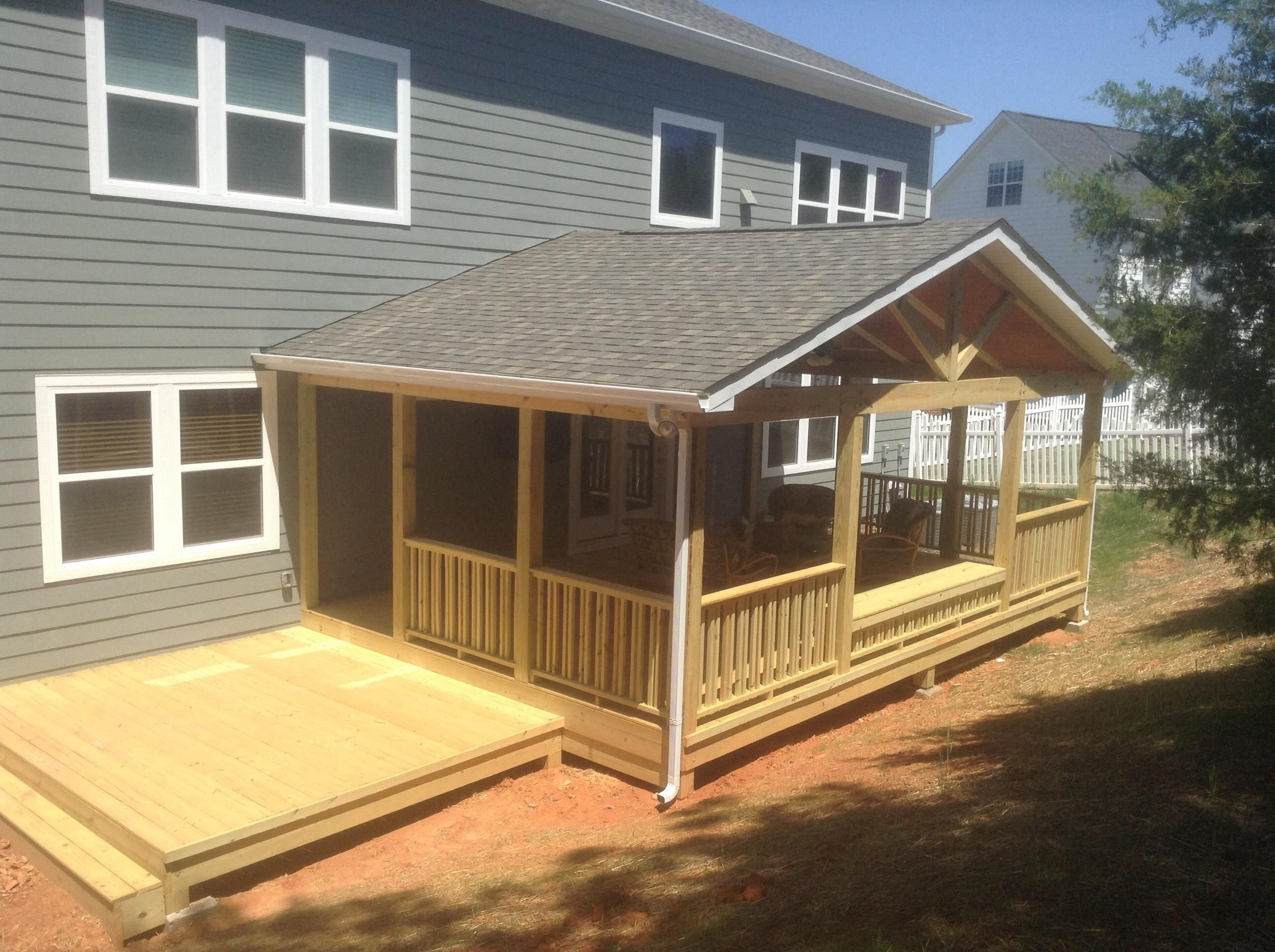 Designed 16 39 x 24 39 covered deck with10 39 x 12 39 sun deck for Coverd deck