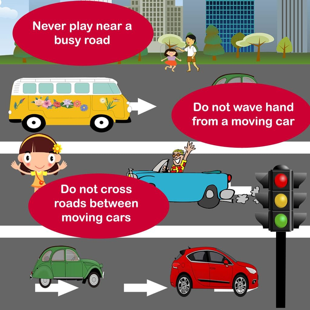 Three tips for children to be safe on roads. Tell these