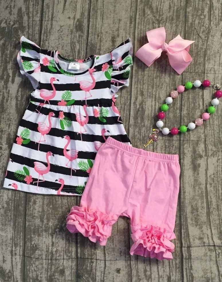 a1d6d38928f5 Little Girls Flamingo Theme 4-Piece Outfit | Shop For PINK ...