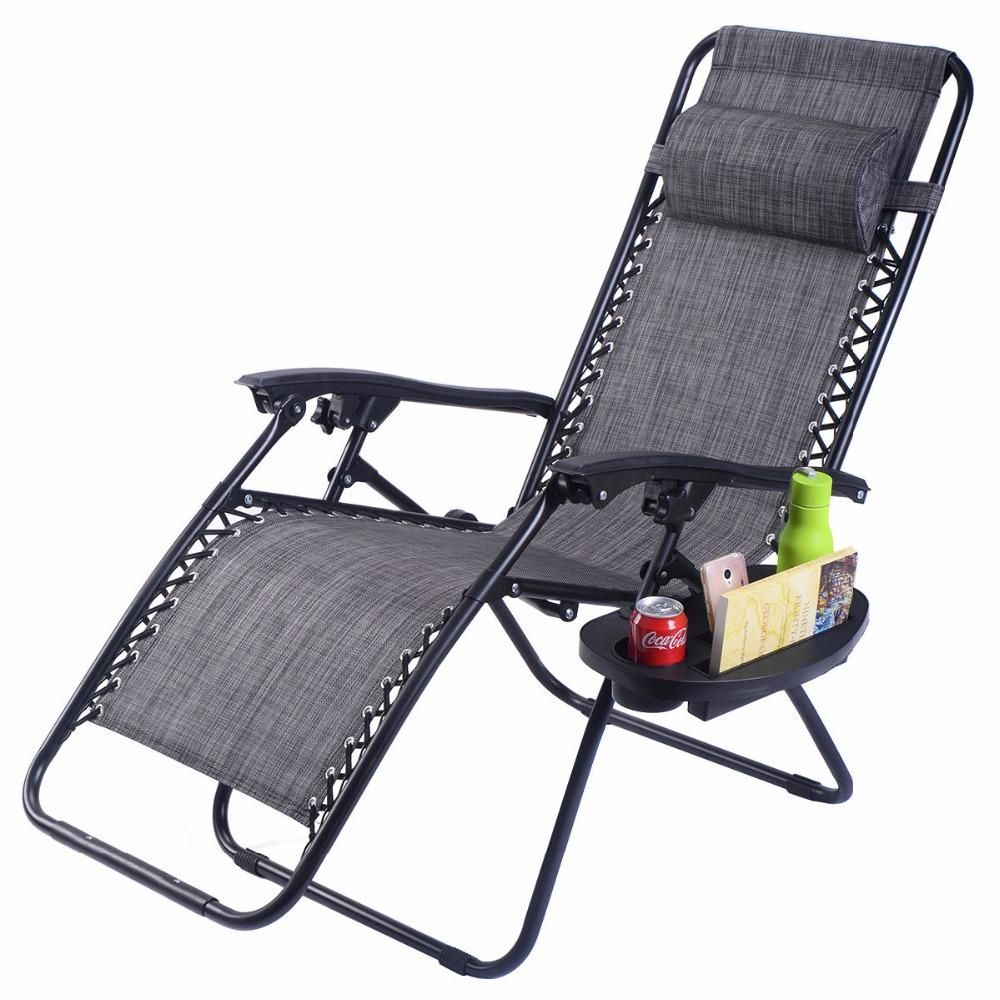 Sunbathing Beach Lounge Chair with storage Tray scarf