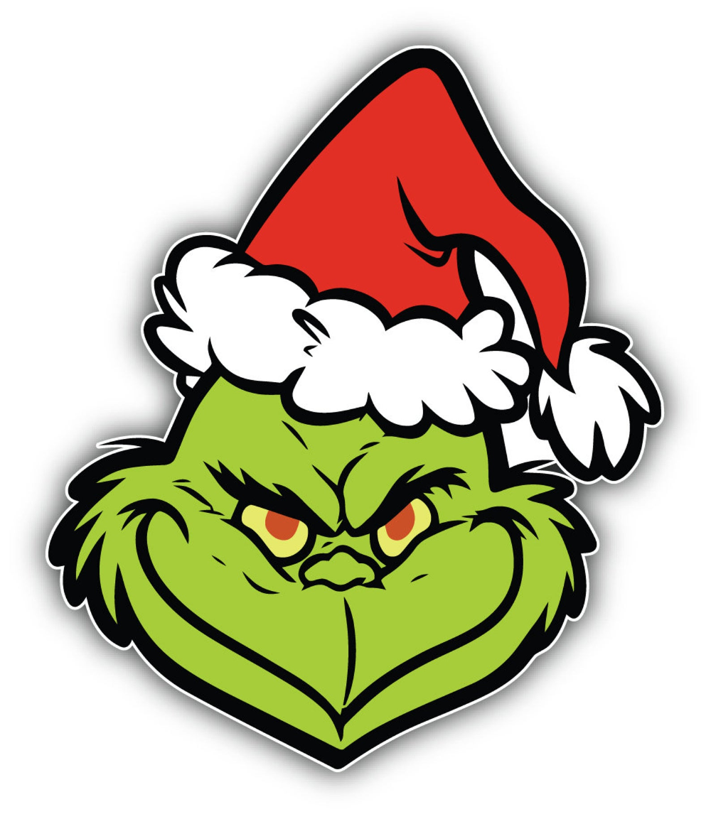 The Grinch Cartoon Face Sticker Bumper Decal Etsy in