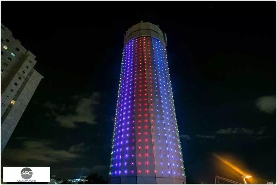 kiryat ono water tower pixel lighting