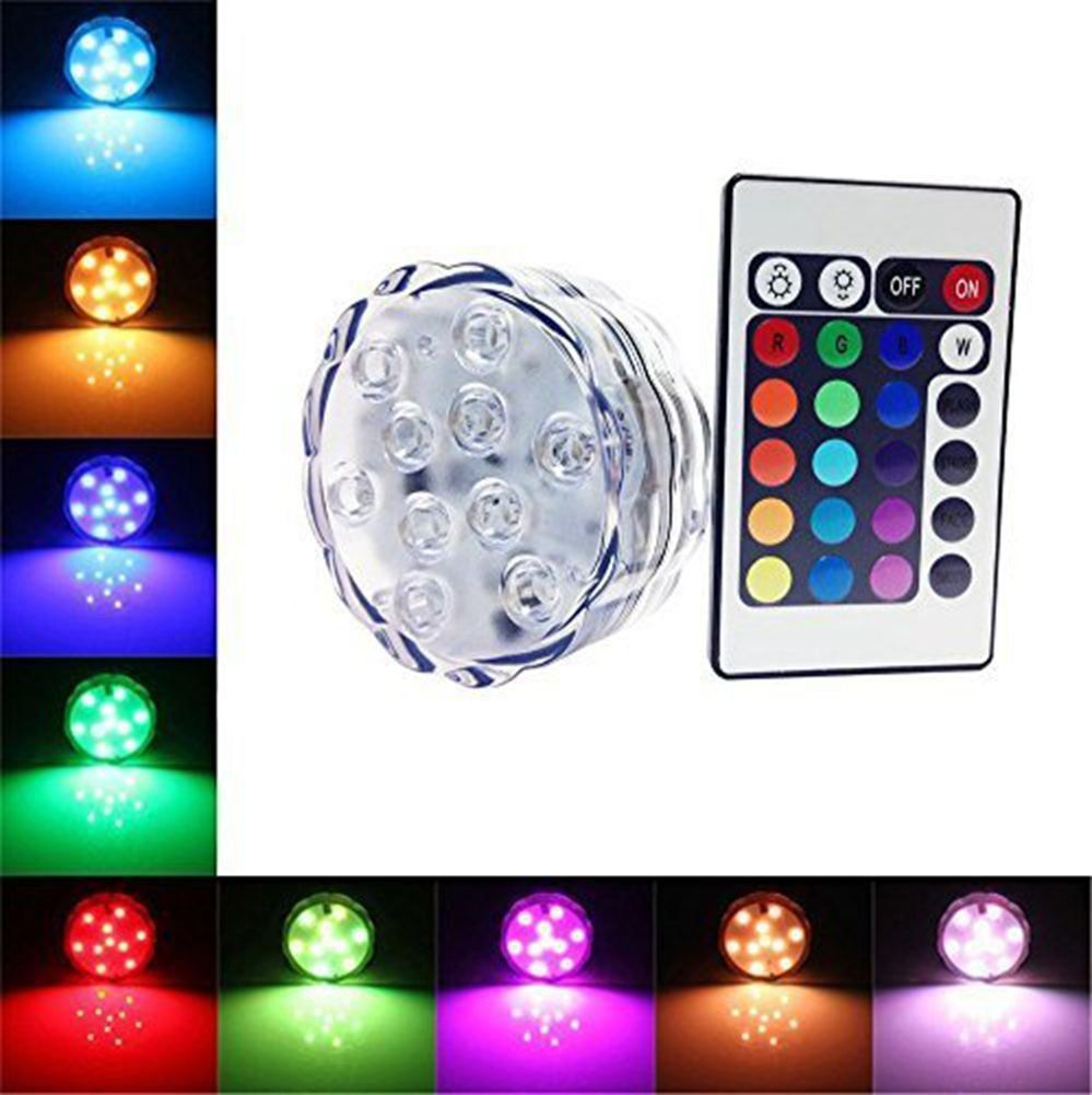 AIIGOU 1 PCS 10 RGB LED Submersible LED Lighting with IR remote control Mood Lights Multicolor Waterproof Flashing tight bright light for wedding celebration Halloween Christmas Pool Fish Tank Decorations -- Awesome products selected by Anna Churchill