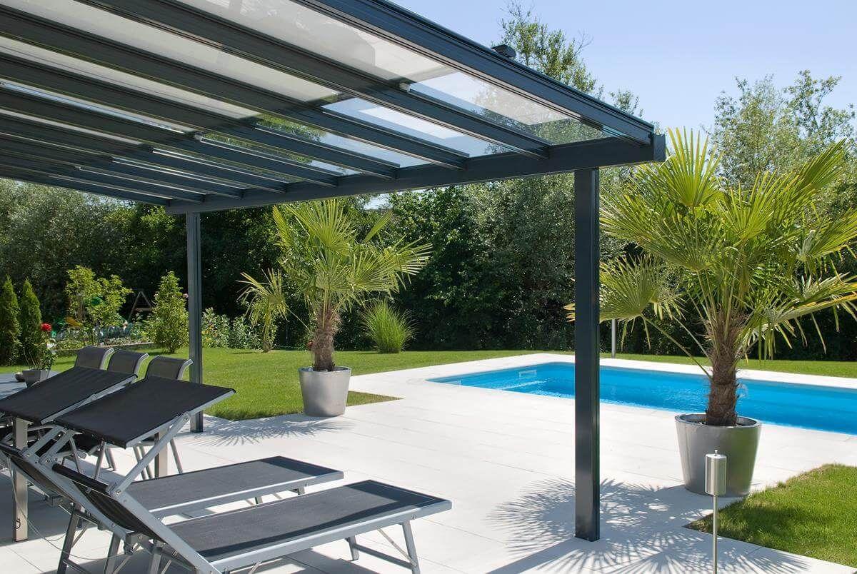 coberti prgola de aluminio con techo de cristal fijo para porche en jardn prgola