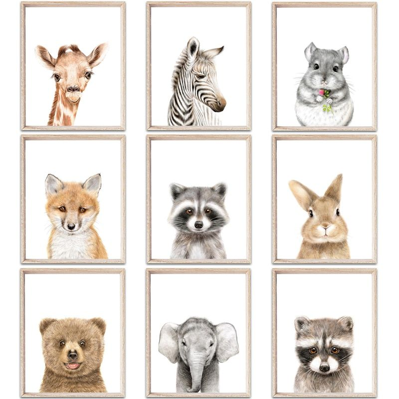 Zero Clock Baby Animals Posters And Prints Minimalist Canvas Painting Nursery Woodland Wall Art Kids Room Decoration Pictures Nursery Paintings Kids Room Wall Art Animal Posters