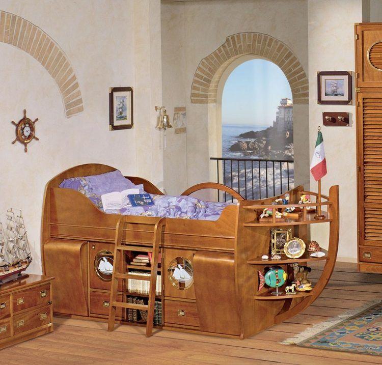 hochbett f r das kinderzimmer mit stauraum darunter piraten und meer pinterest. Black Bedroom Furniture Sets. Home Design Ideas
