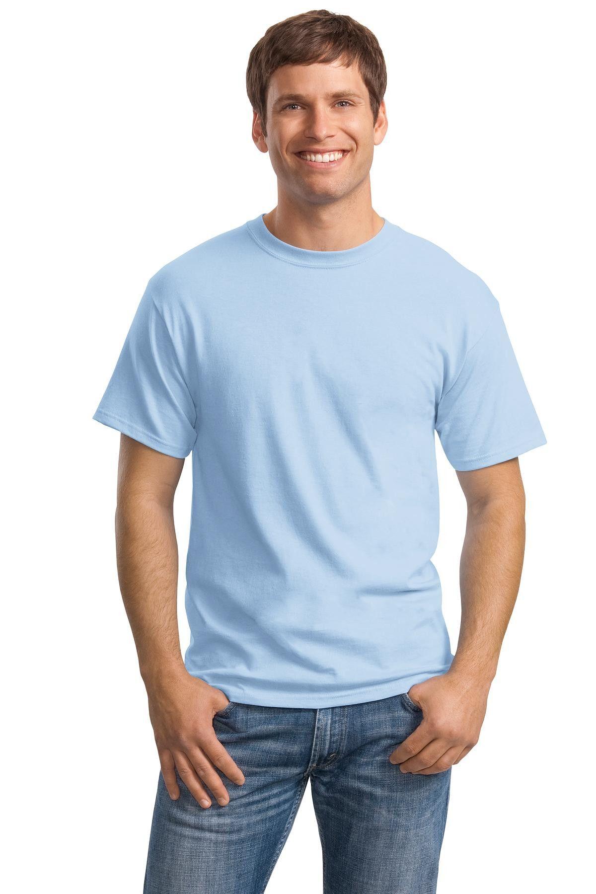 Hanes Comfortsoft Heavyweight 100 Cotton T Shirt 5280 Light Blue White Tshirt Men Men Short Sleeve Blank T Shirts