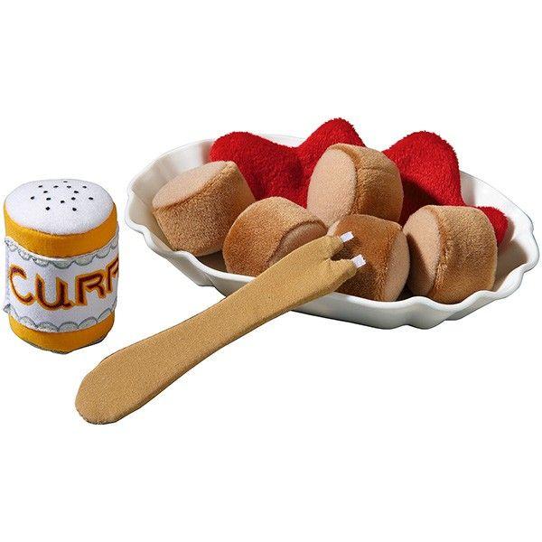 Contenido: 1 platillo para salchichas, 5 trozos de salchicha, 1 salsa de curry, 1 dosificador de curry, 1 pincho.  Material: poliéster, plástico.  Platillo para salchichas: 17 x 10,5 x 3 cm.