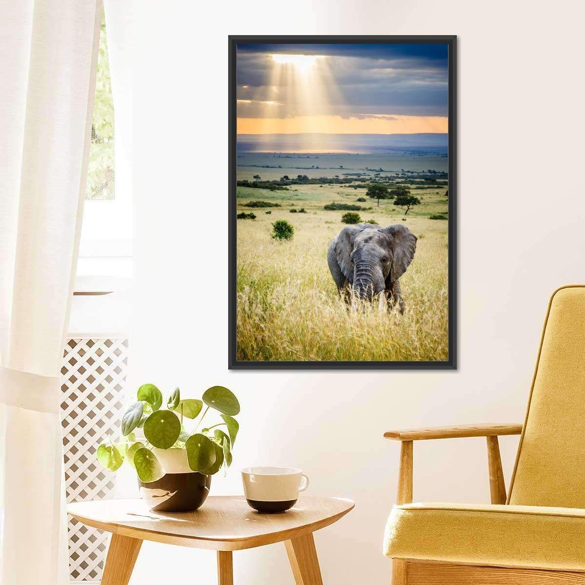Sunrays On Savanna Fields Wall Art is a powerful addition to your decor. Decorate your any room in your home with this stunning elephant canvas print, that is a blend of power and strength.