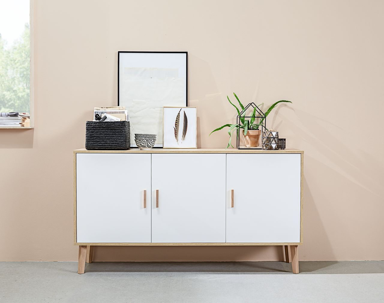 Sideboard Real Scandic Style Sideboard Minimal White Furniture With Oak Legs For