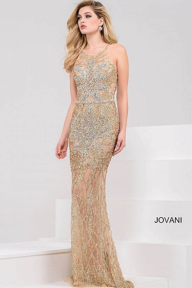 Gold Fully Embellished Open Back Sleeveless Dress 26674 | Evening ...