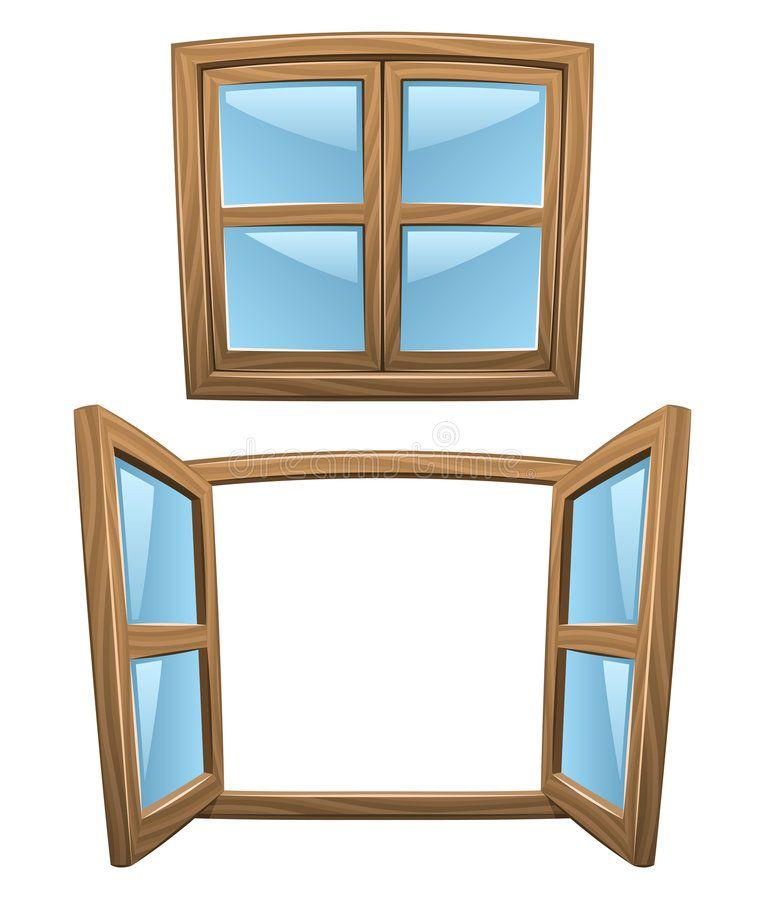 Cartoon Wooden Windows Closed And Open Vector Ad Windows Wooden Cartoon Vector Open Ad In 2020 Window Clipart Windows Clip Art