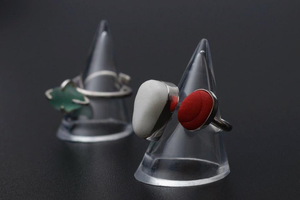 Sea glass / milk sea glass rings