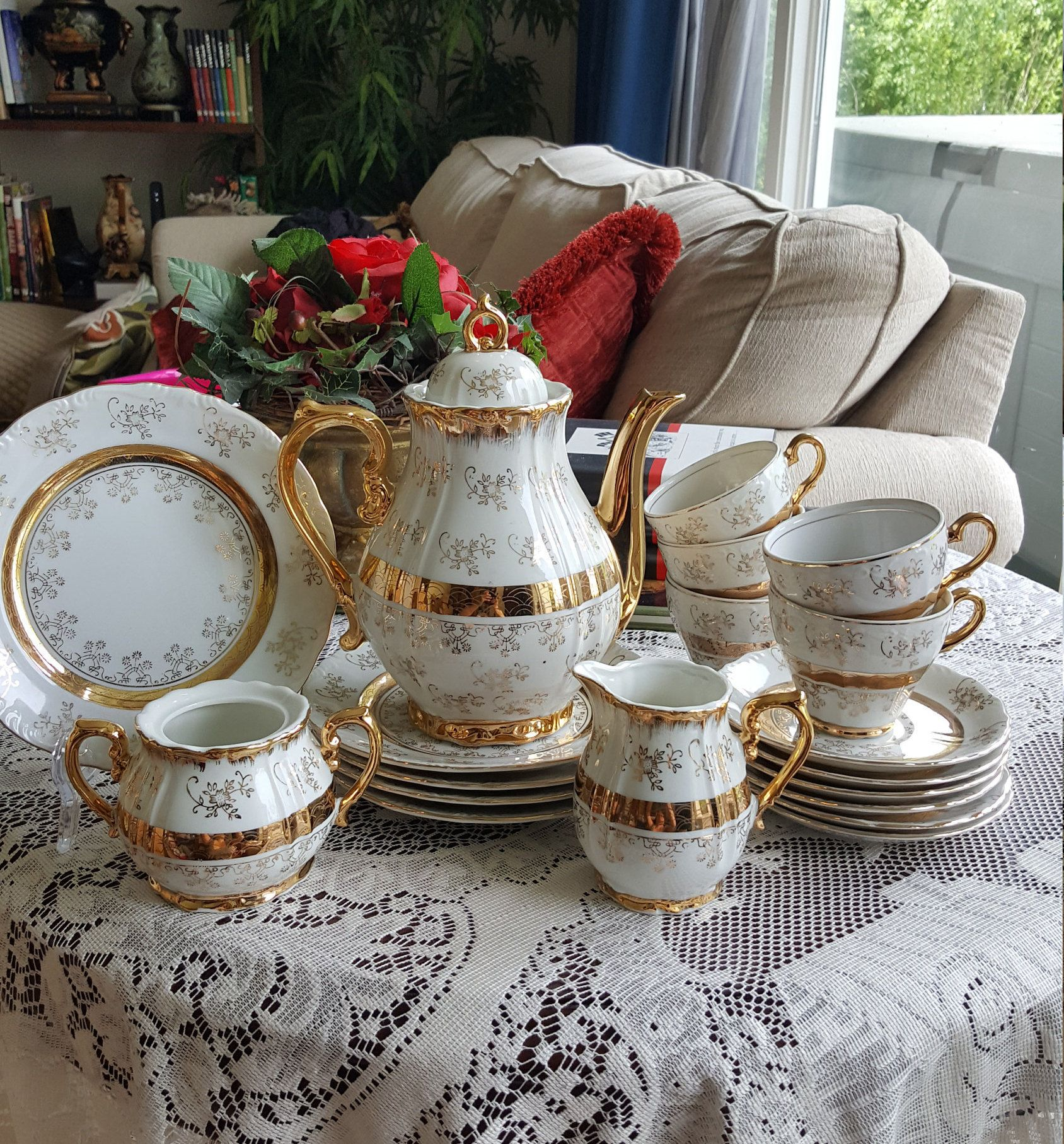 Children Victorian Tea party Demitasse Tea Set of 21 Pieces Serves 6 Lace Work of Gold Vintage China Set Classy Tea Set Children Tea #teasets