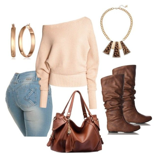 """Tan & Brown with Jeans"" by mstiffanyc ❤ liked on Polyvore featuring Qupid, Anne Klein and GUESS"