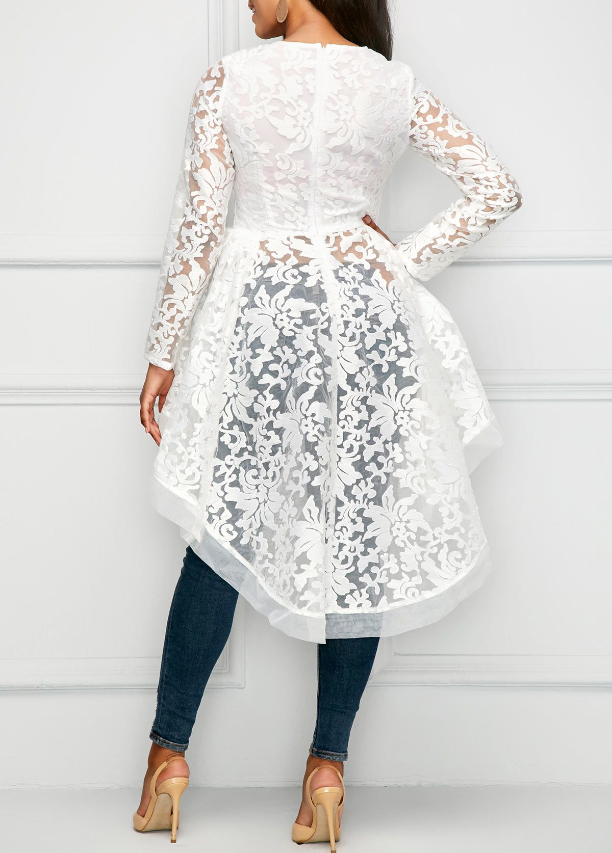 27a87a0b441253 High Low Long Sleeve Round Neck Lace Blouse | Rosewe.com - USD $36.89