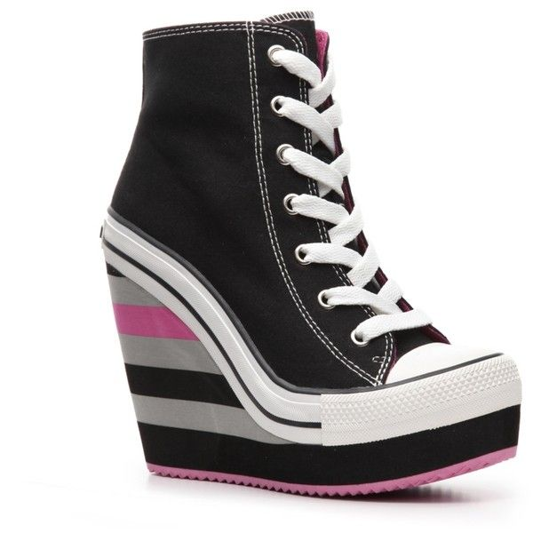 Tenwood Pink Canvas High Wedge Heel Side Zipper Lace High Top Fashion Sneakers