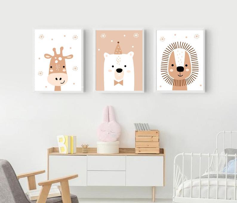 Set Of 3 Nursery Prints Baby Wall Art Animals Nursery Prints Boys Room Wall Art Child Room Wall Art Baby Boy Gift Baby Room Wall Art In 2020 Baby Wall Art