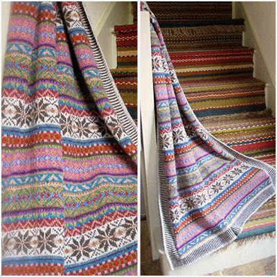 Maire Wallin Felted Tweed Sage Fairisle Throw | knitting ...