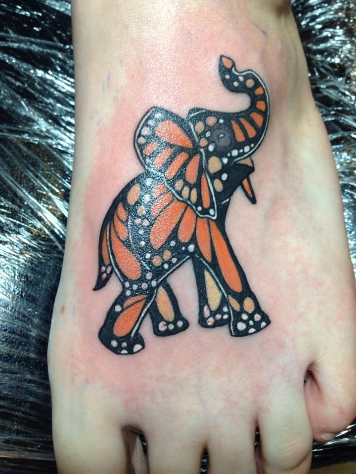 Monarch butterfly Elephant foot tattoo in Bethlehem Pa Lehigh valley tattoos -Quinn- www.satori-ink.com