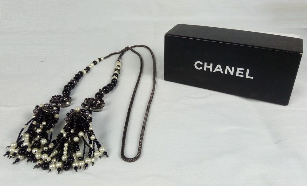 100% Authentic CHANEL Pearl and Bead Necklace CC Logo Ruthenium Chain MINT #CHANEL