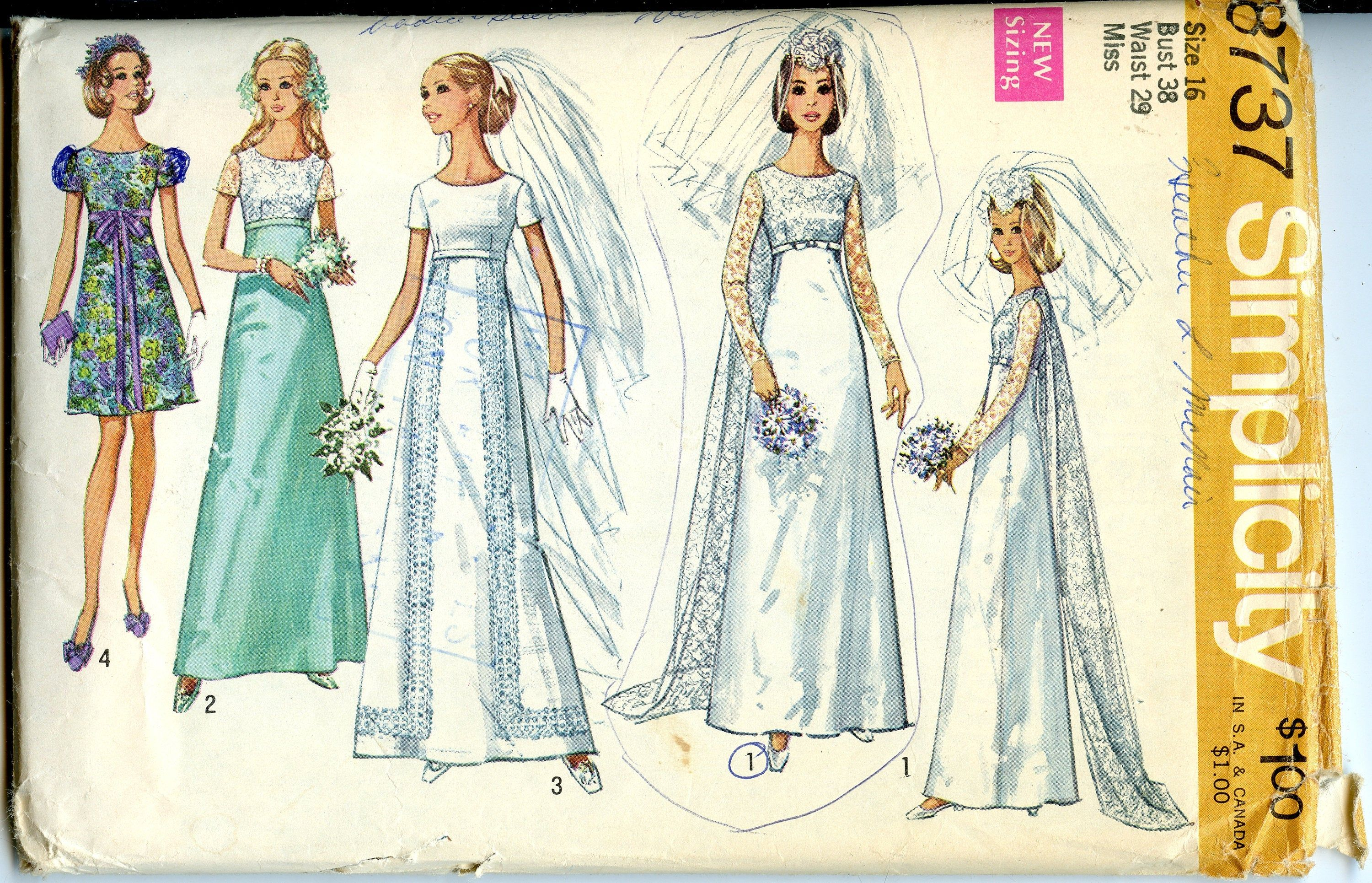 60s high waist wedding gown sewing pattern detachable