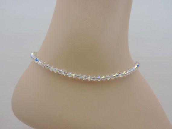 Ankle Bracelet Swarovski Crystal Aurora Borealis Anklet