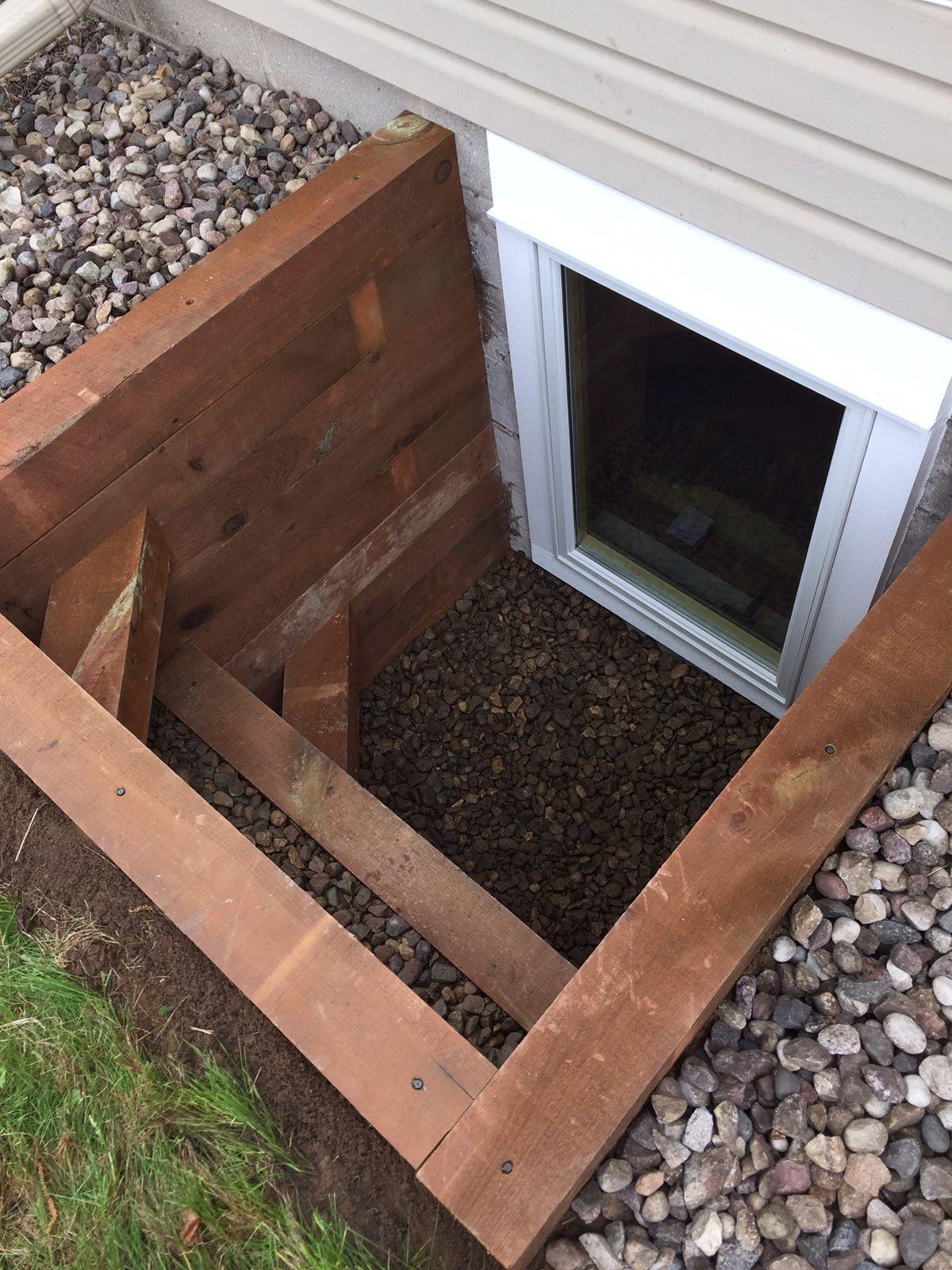Egress window decor  egress window timber well  affordable egress windows