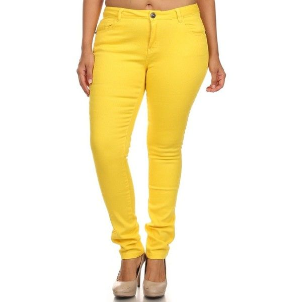 Women Plus Size Cotton Stretch Skinny Jeans 5 Pockets Size 8 TO 20 ($27) ❤ liked on Polyvore featuring jeans, plus size skinny leg jeans, five pocket jeans, yellow jeans, skinny jeans y skinny leg jeans