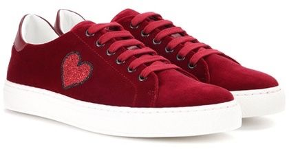 Glitter Heart velvet low-top sneakers Anya Hindmarch frvfVpsd