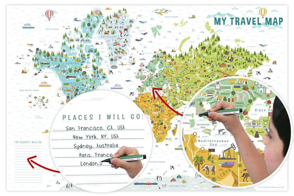 Interactive world map for kids laminated poster kids room decor interactive map illustrated world map my travel map interactive world map for kids map of the world world map for kids world map with countries publicscrutiny Choice Image