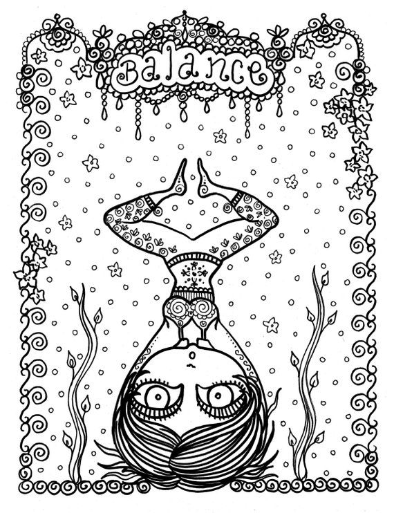 Balance Yoga Girl Coloring Page Adult Coloring From My Yoga Style