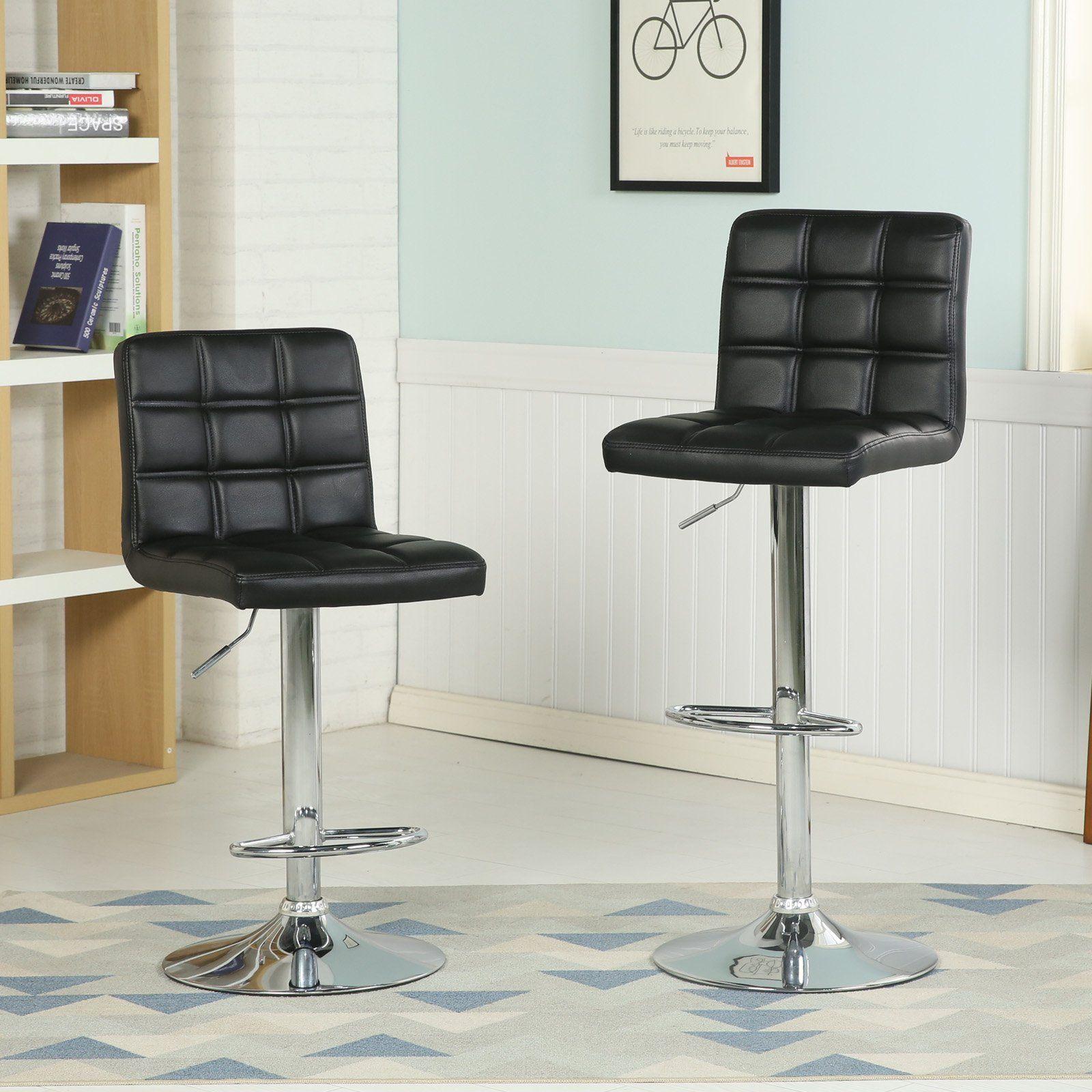 Strange Roundhill Furniture Bordeau Adjustable Bar Stool Set Of 2 Theyellowbook Wood Chair Design Ideas Theyellowbookinfo