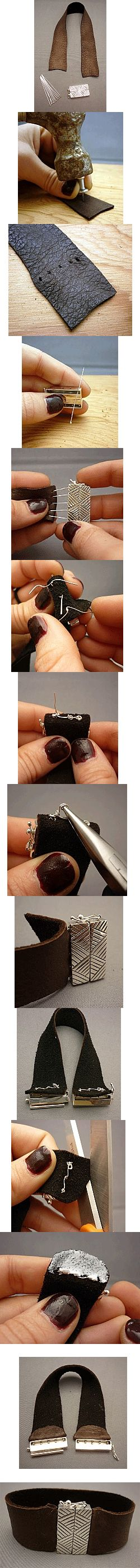 Make your own Wide Leather Bracelet! Great for Men & Women. Click here for directions http://www.ninadesigns.com/how_to_make_your_own_jewelry/leather_bracelet_and_box_clasp.html