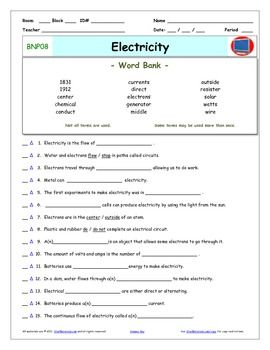 Video Guide, Quiz for Bill Nye - Electricity * PRINTING ...